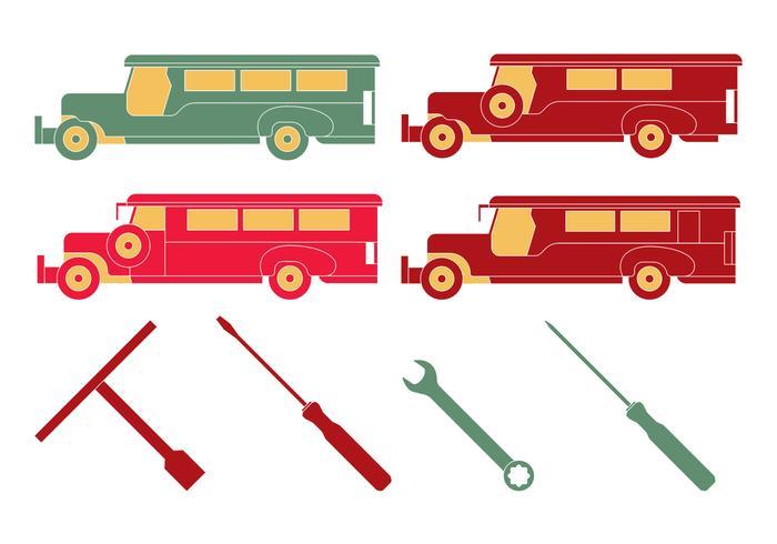 Outils mécaniques de philippine jeepney vecteur