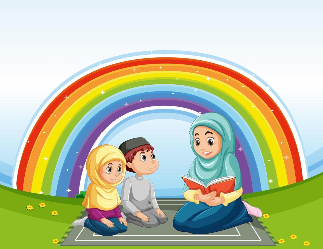 famille musulmane arabe en costume traditionnel et arc en ciel vecteur