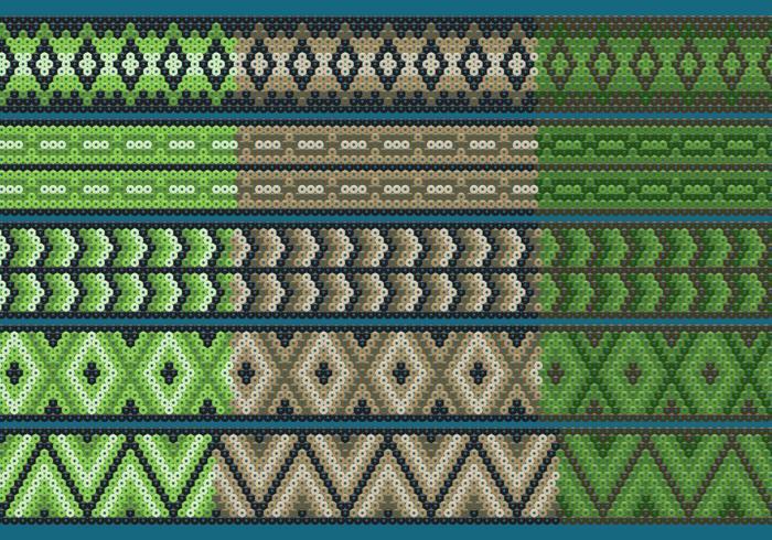 Rubans Huichol Vert Et Marron vecteur