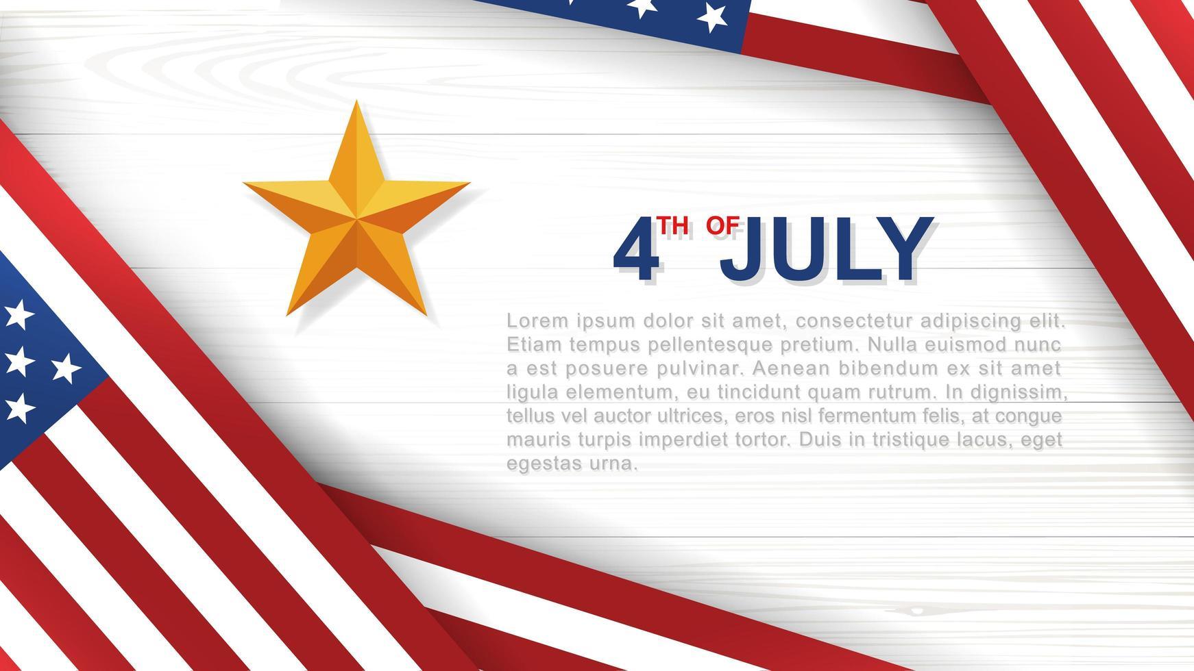 affiche du 4 juillet avec des drapeaux américains coudés sur bois blanc vecteur