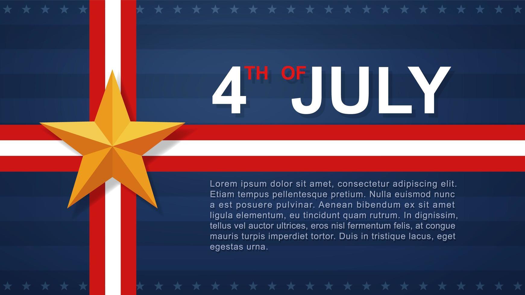 4 juillet fond avec ruban et étoile d'or vecteur