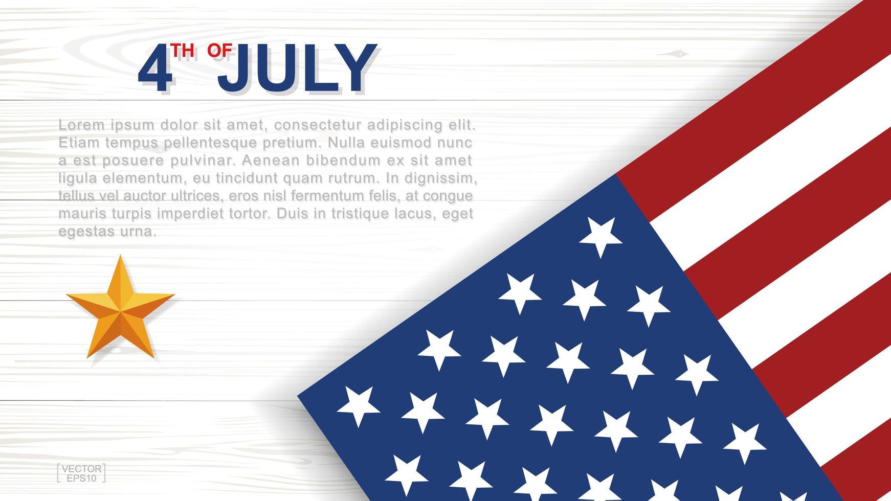 affiche du 4 juillet avec drapeau américain sur bois blanc vecteur