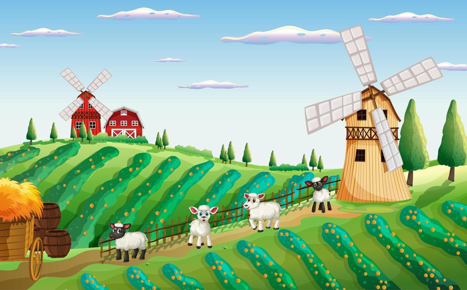 scène de ferme dans la nature avec moulin à vent et moutons vecteur