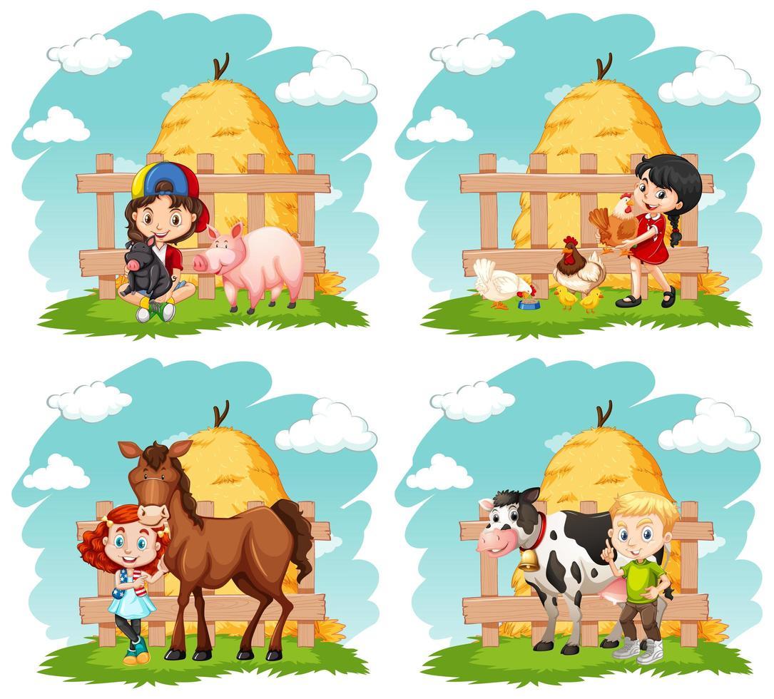 enfants heureux et ensemble d'animaux de ferme vecteur