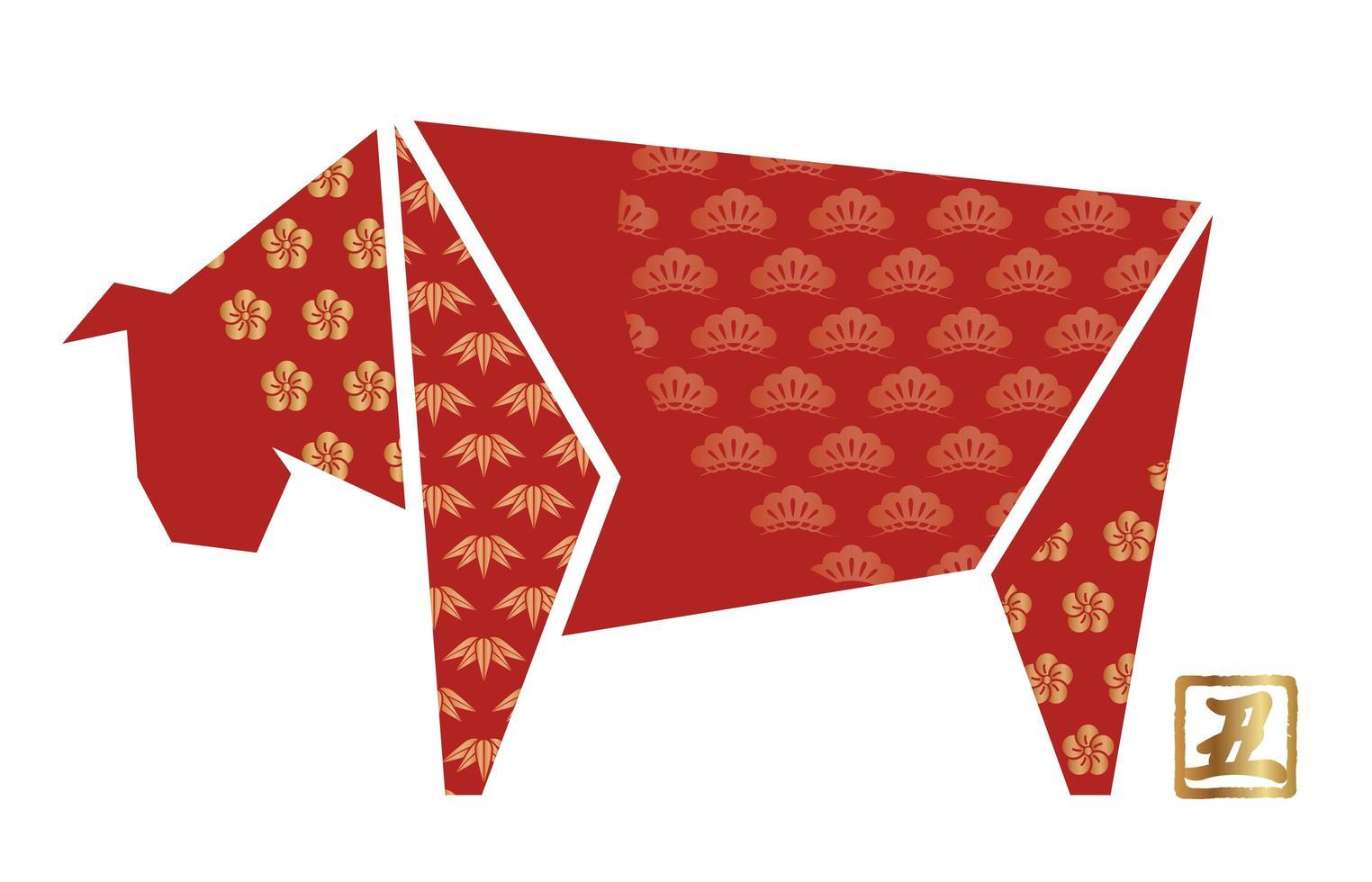 boeuf en origami avec motifs japonais vintage vecteur
