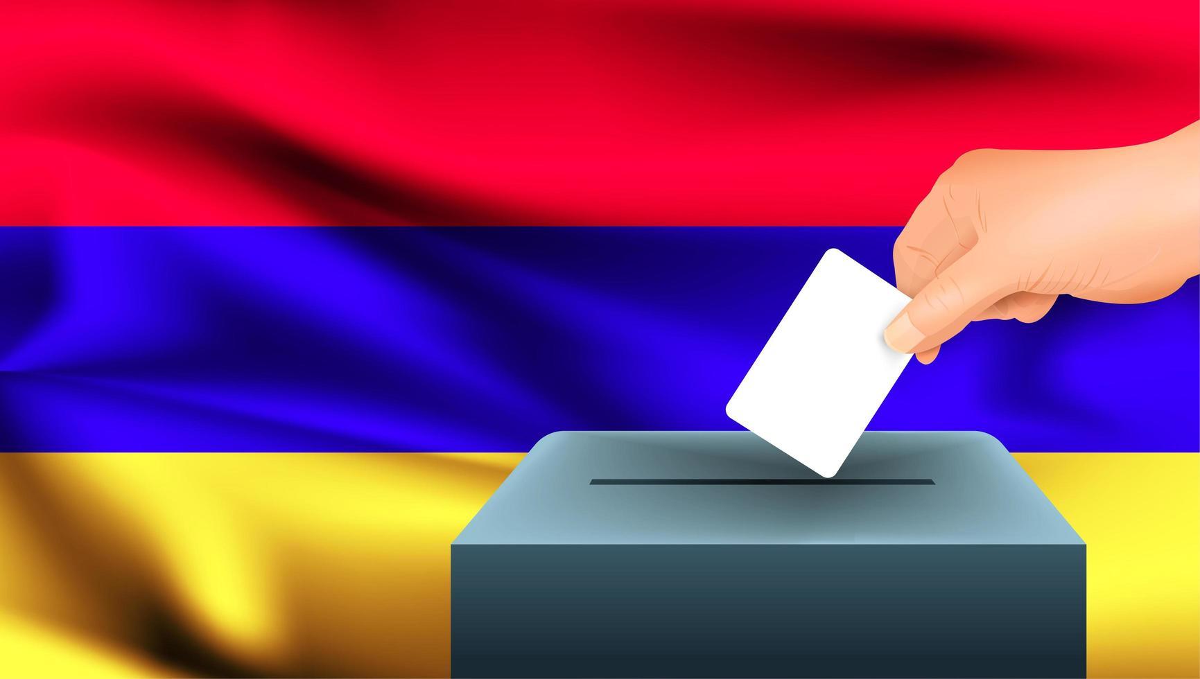 Main mettant le bulletin de vote dans l'urne avec drapeau arménien vecteur
