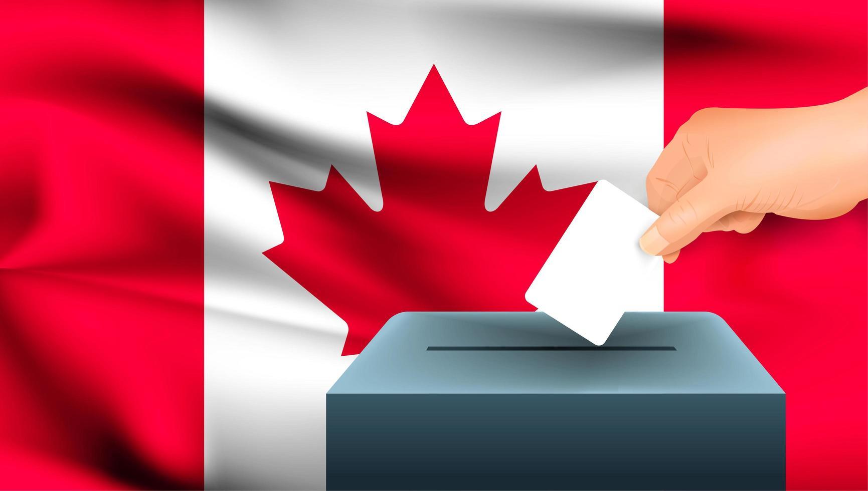 Main mettant le bulletin de vote dans l'urne avec le drapeau canadien vecteur