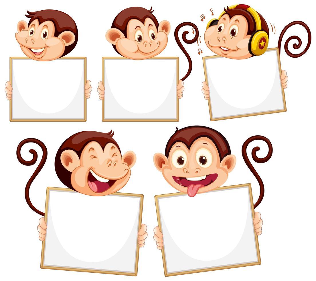 modèle de signe vierge avec des singes sur fond blanc vecteur
