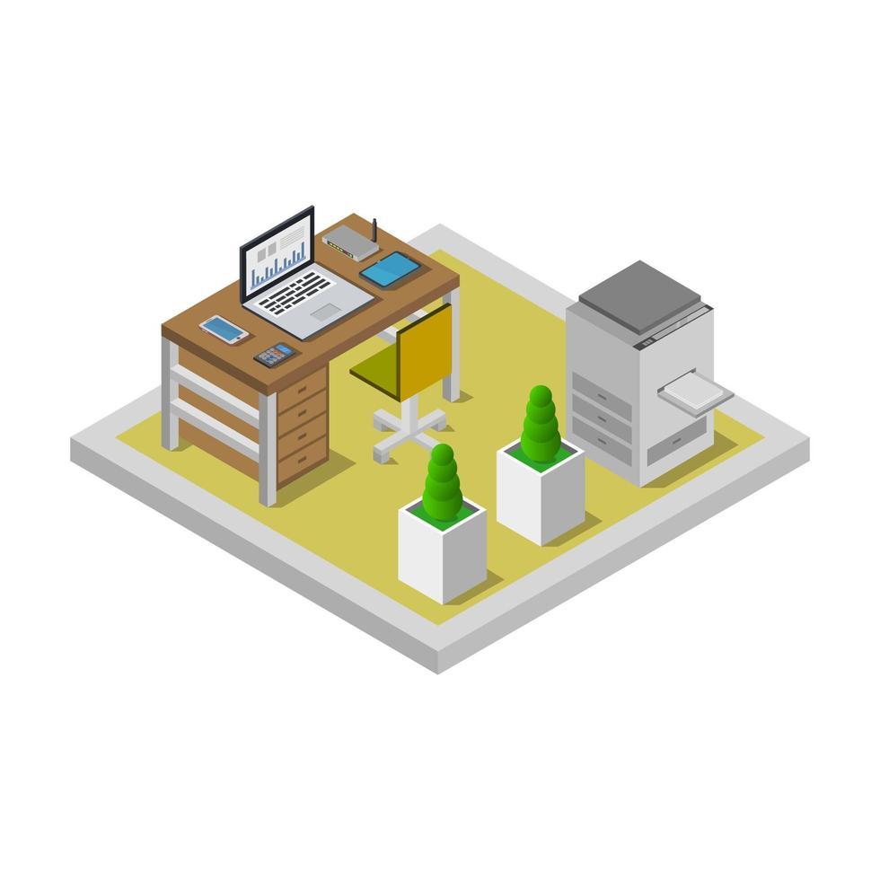 bureau isométrique sur blanc vecteur