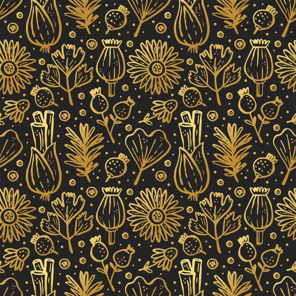 herbes d'or, plantes forestières sur modèle sans couture noir vecteur