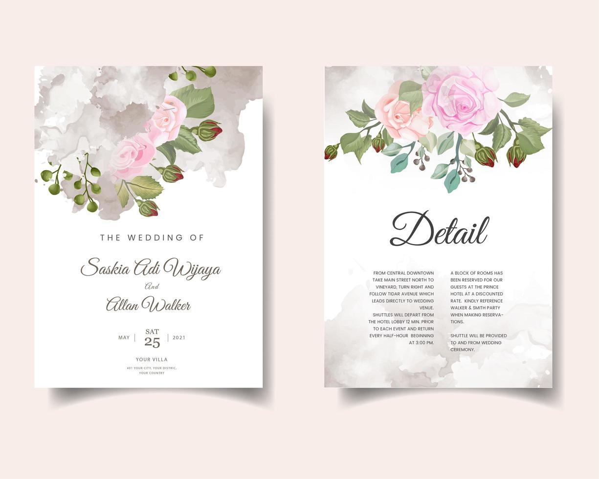 carte d'invitation de mariage aquarelle avec des fleurs vecteur