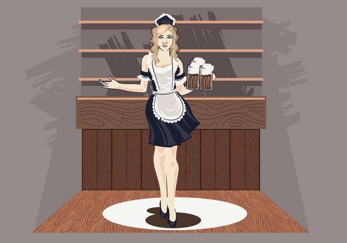 Illustration vectorielle de Woman in Classic Maid Dress Costume vecteur