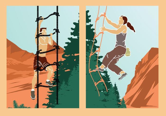 Échelle de corde aventure escalade illustration vecteur stock