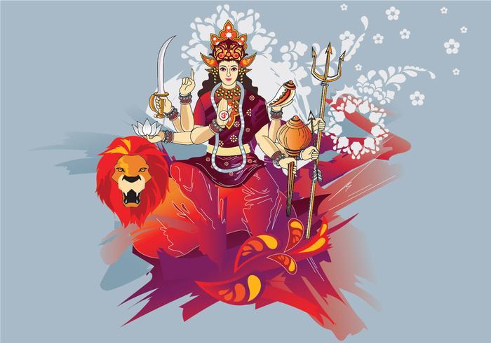 Illustration vectorielle de Goddess Durga in Subho Bijoya vecteur