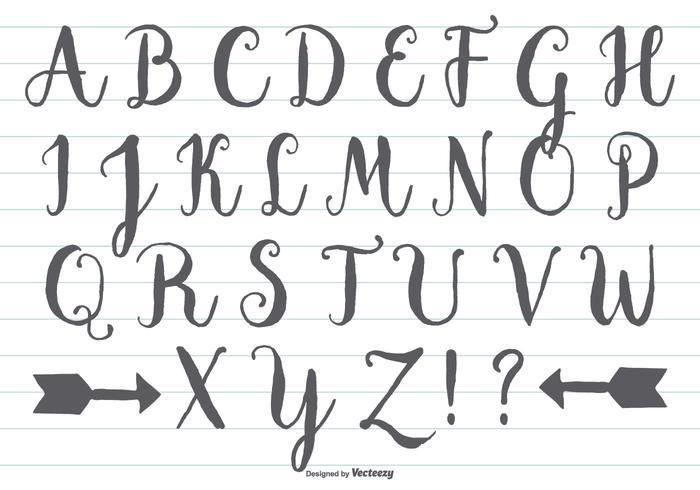 Alphabet calligraphique dessiné à la main vecteur