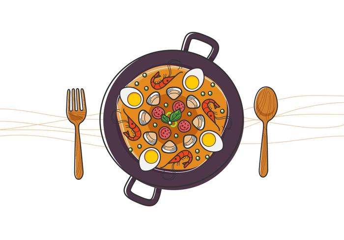 Paella délicieuse vecteur