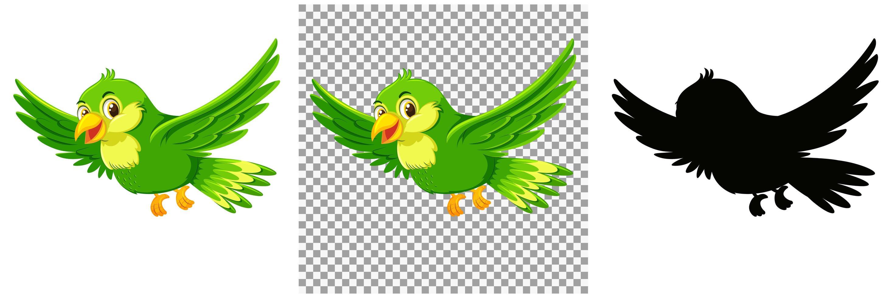 personnage de dessin animé oiseau vert vecteur