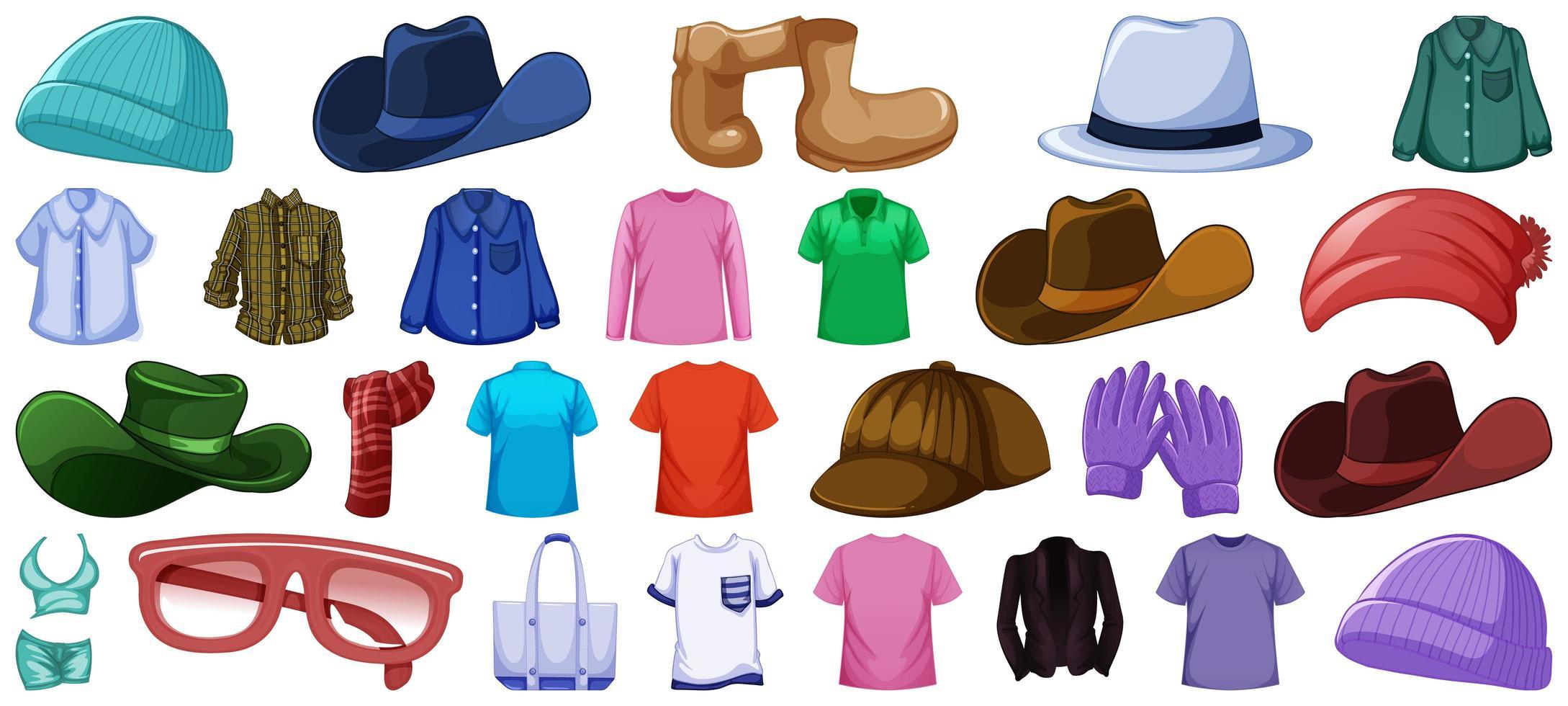 ensemble de tenues et accessoires de mode vecteur