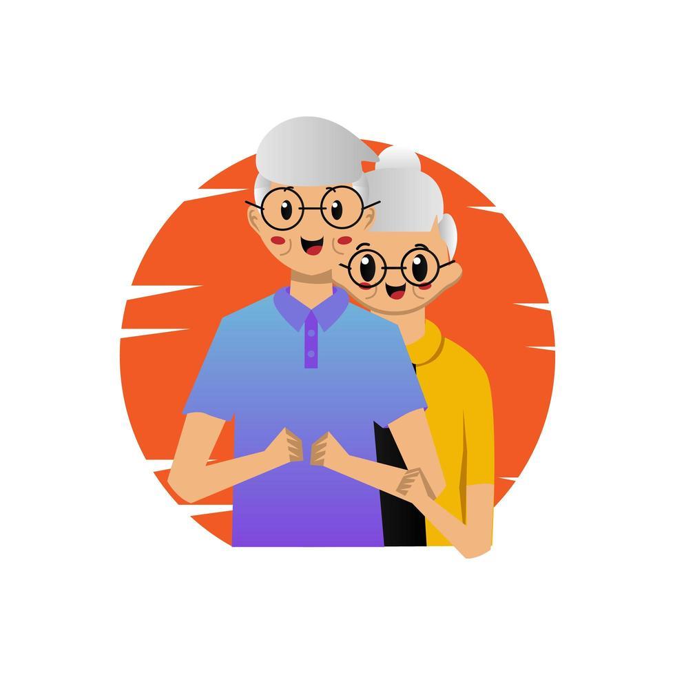 dessin animé heureux couple senior ensemble vecteur