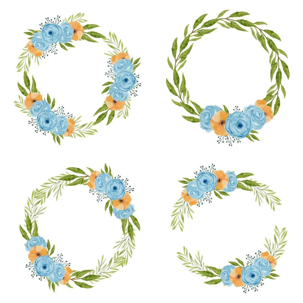ensemble de couronne de fleurs aquarelle vintage bleu et orange vecteur