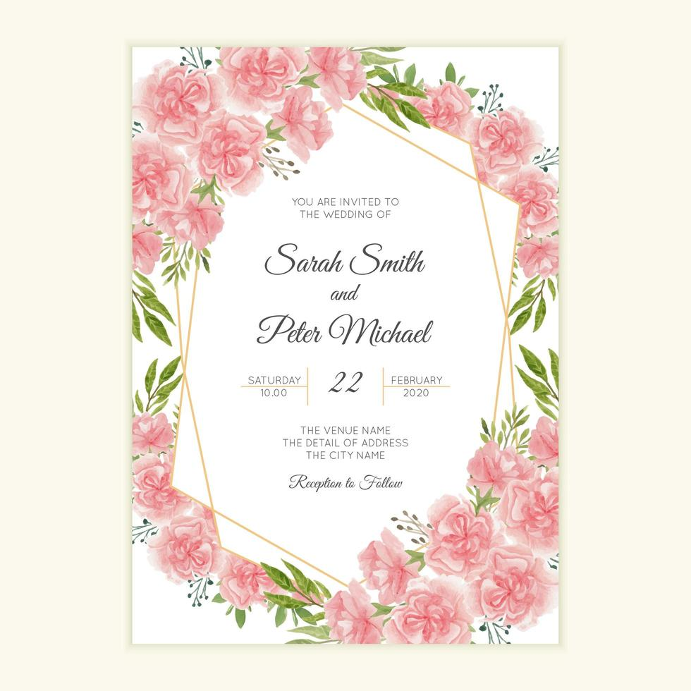 carte d'invitation de mariage avec fleur d'oeillet aquarelle vecteur