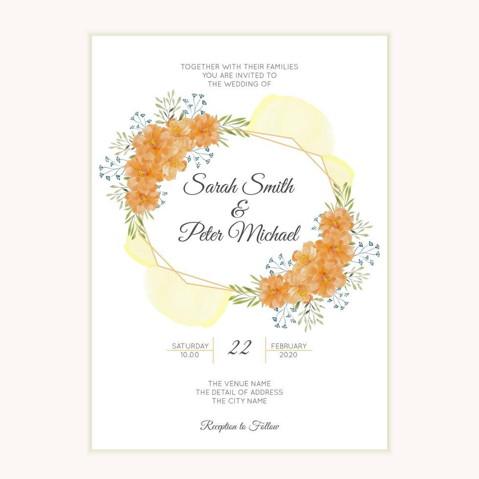 carte d'invitation de mariage aquarelle avec bordure de fleurs dorées vecteur