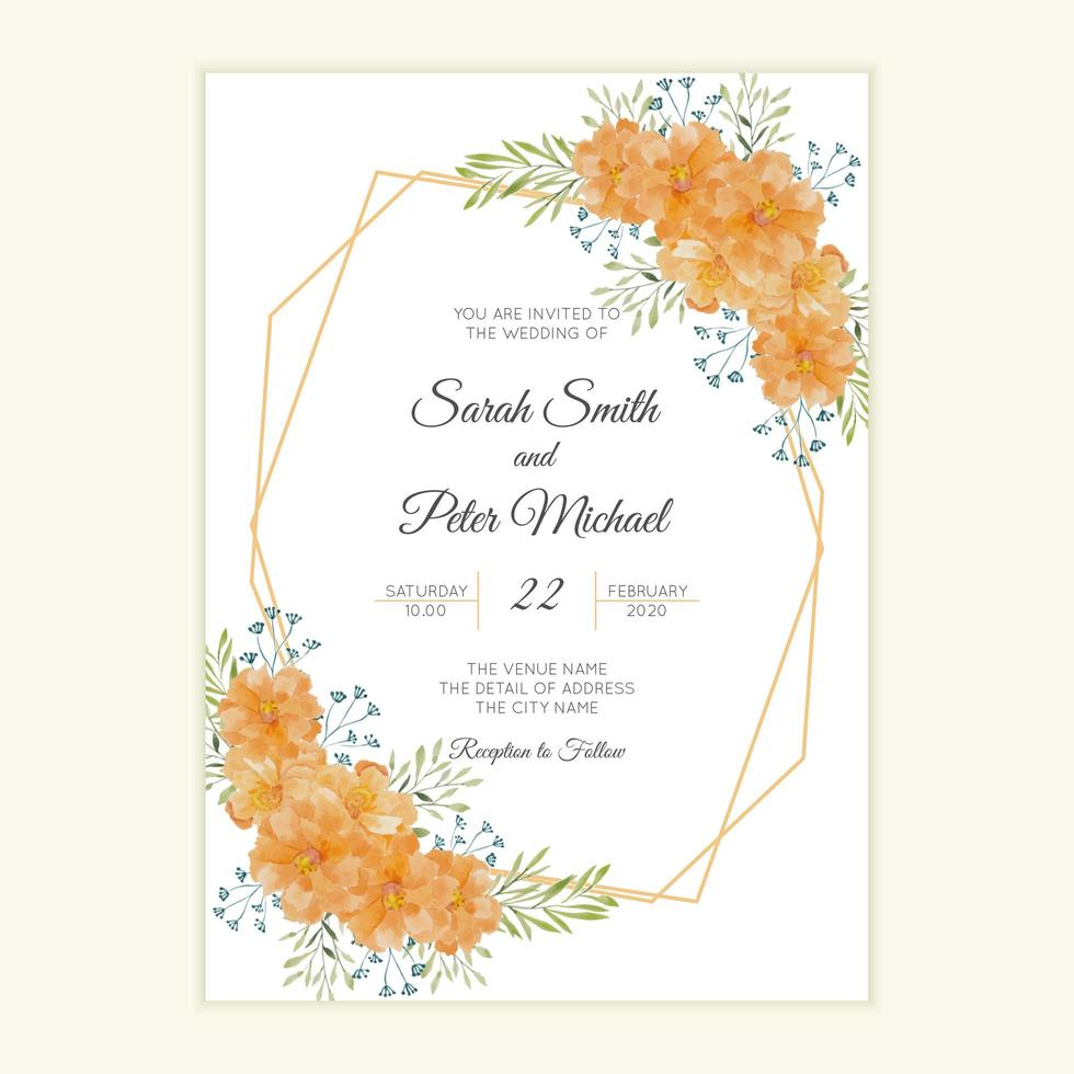 carte d'invitation de mariage rustique vecteur