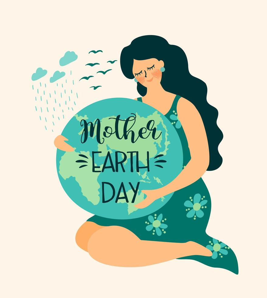 sauver la nature affiche de la fête de la terre mère vecteur