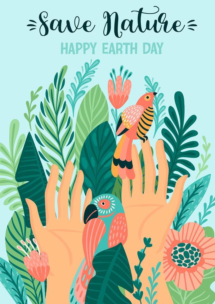 sauver l'affiche du jour de la terre nature vecteur