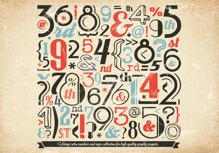 Vecteur de collection Vintage Numbers