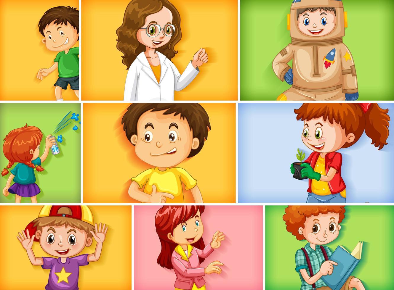 ensemble de différents personnages enfants vecteur