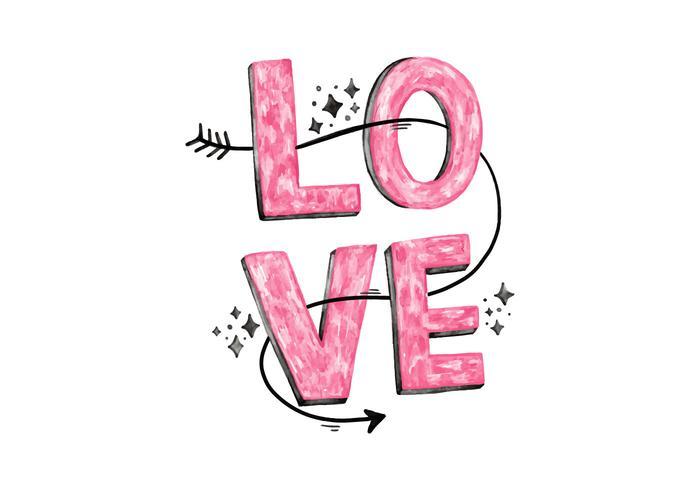 Lettrage d'amour rose vecteur