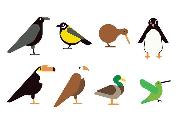 Icône d'oiseau plat vecteur