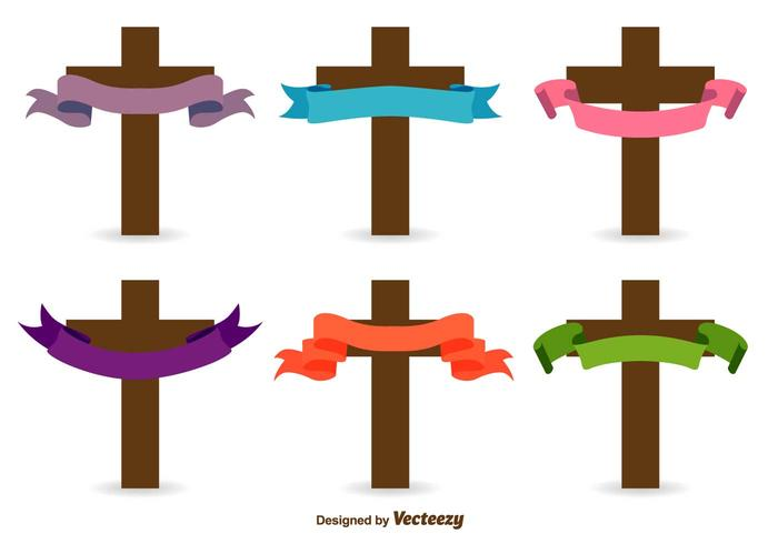 Icônes vectorielles croisées catholiques vecteur