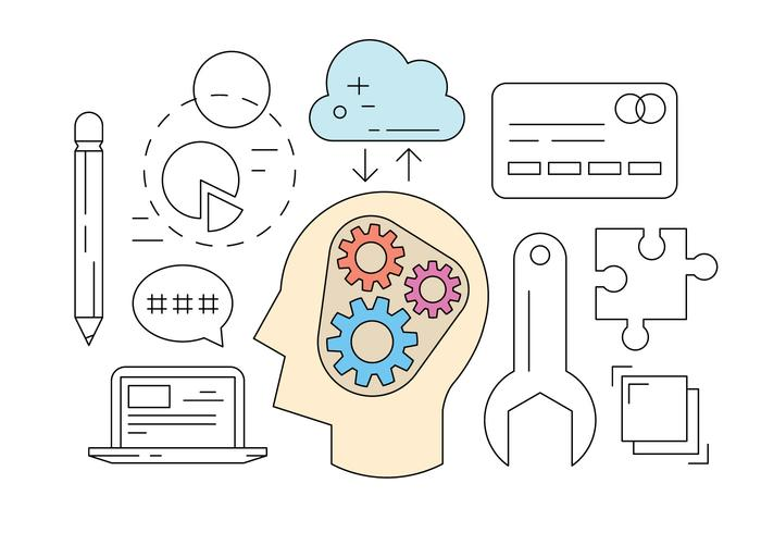 Icônes gratuites de brainstorming vecteur