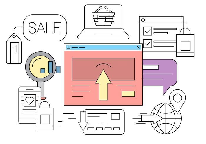 Icônes d'achat en ligne vecteur