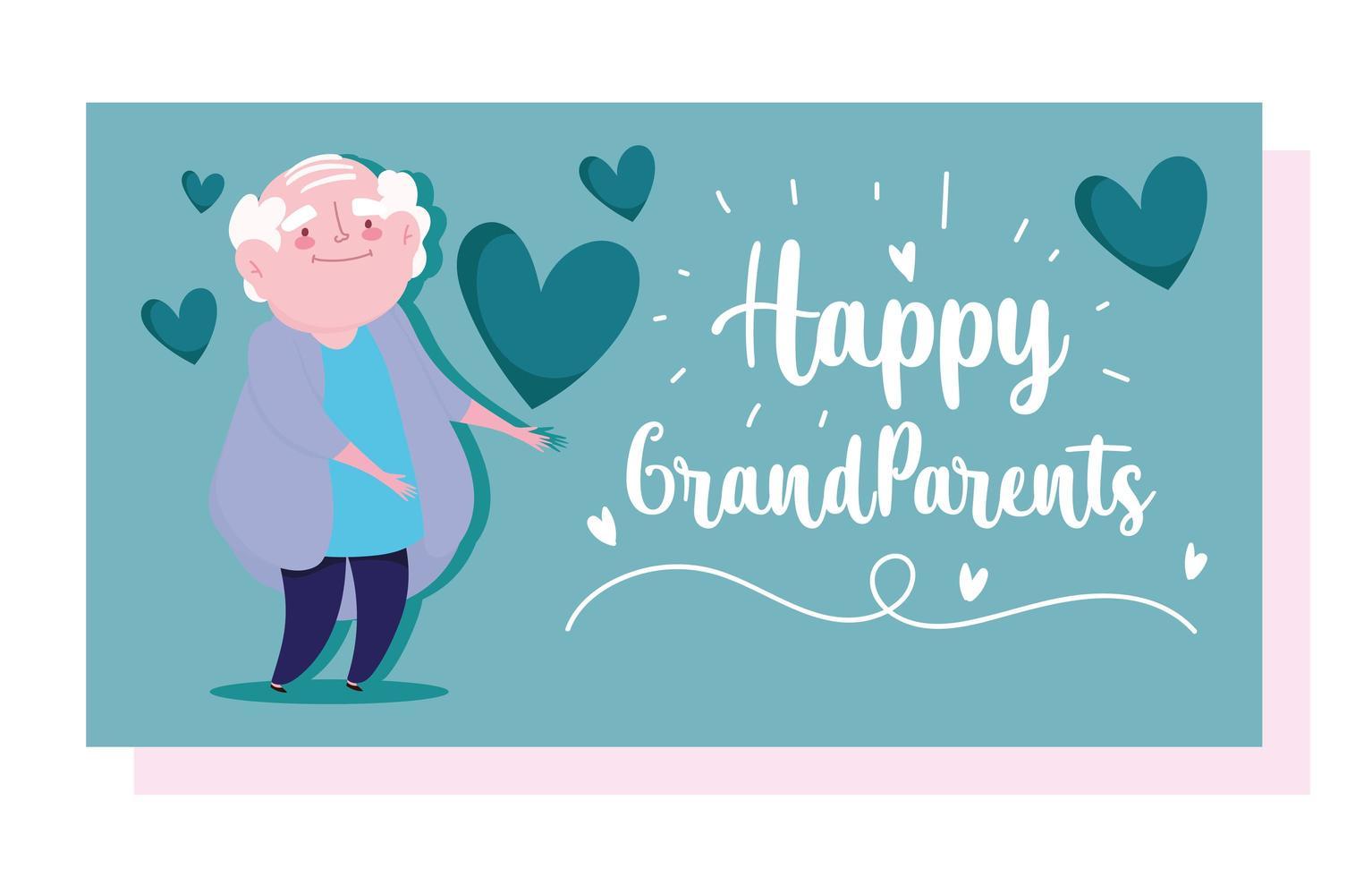 vieil homme grand-père avec carte de dessin animé amour coeurs vecteur