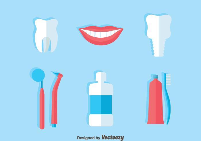 Dentiste Icons Flat Vector