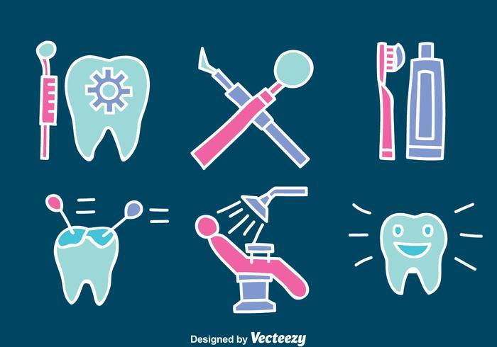 Main Dentiste Dessiné ELement Vector Set