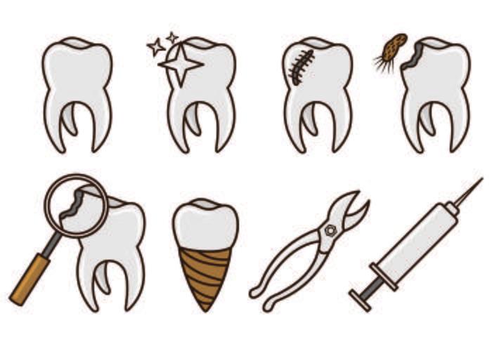 Set Of Dentista Icons vecteur