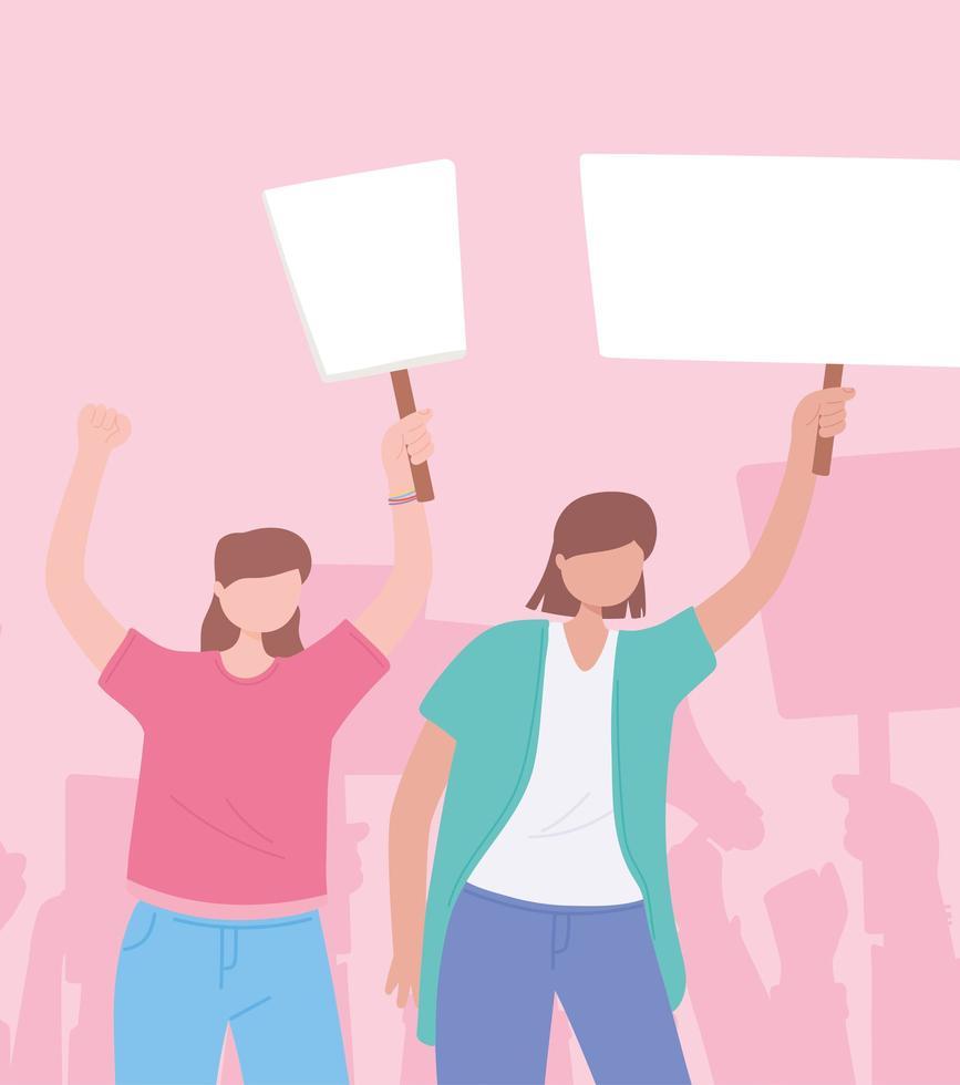 femmes tenant des pancartes vierges dans une manifestation vecteur