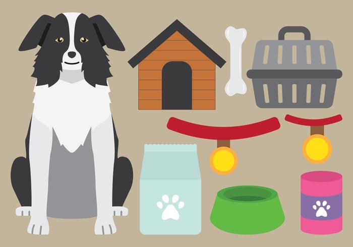 Icônes de fournitures de chien vecteur