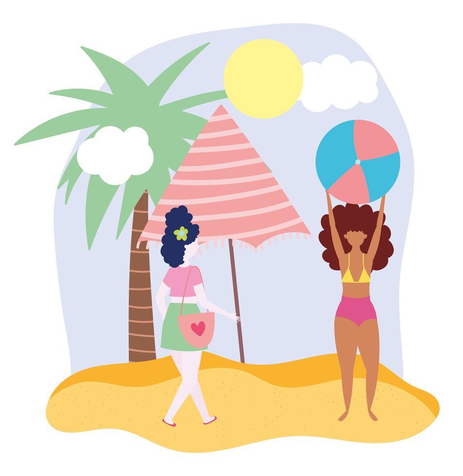 femmes jouant à la plage vecteur