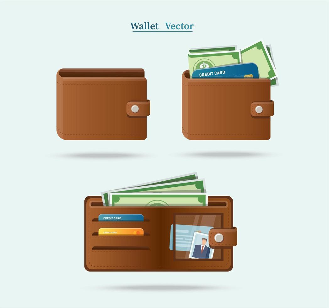 ensemble d & # 39; icônes de portefeuille marron plein d & # 39; argent vecteur