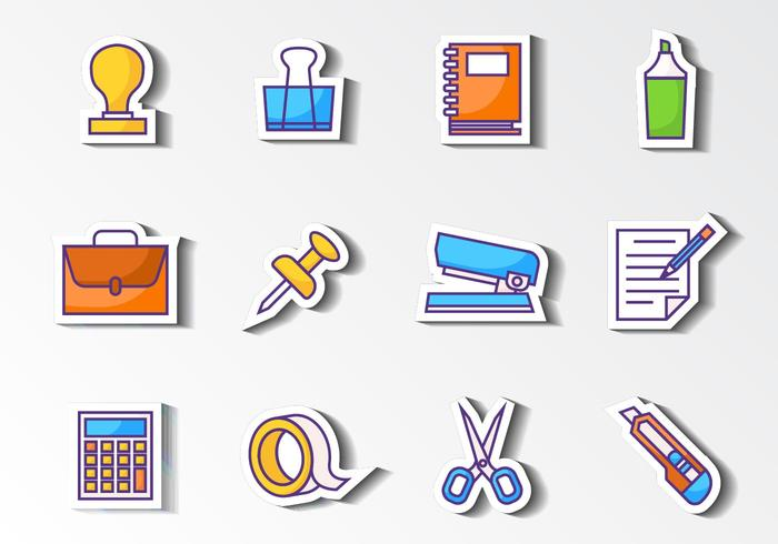 Stationery Office Icons Vecteur libre