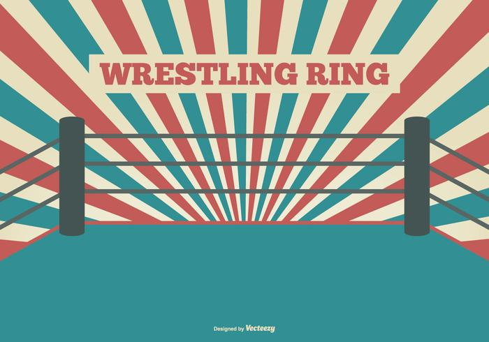 Flat Style Ring Wrestling Illustration vecteur