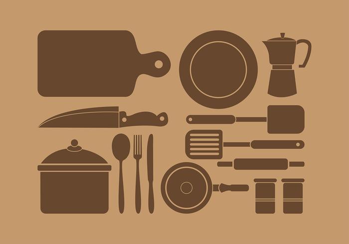 Siluetas Kitchen Set Vector gratuit