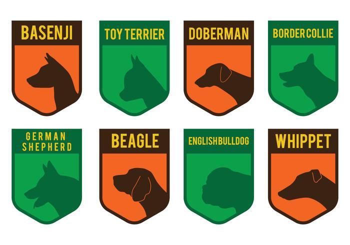 Badge des têtes de chien vecteur