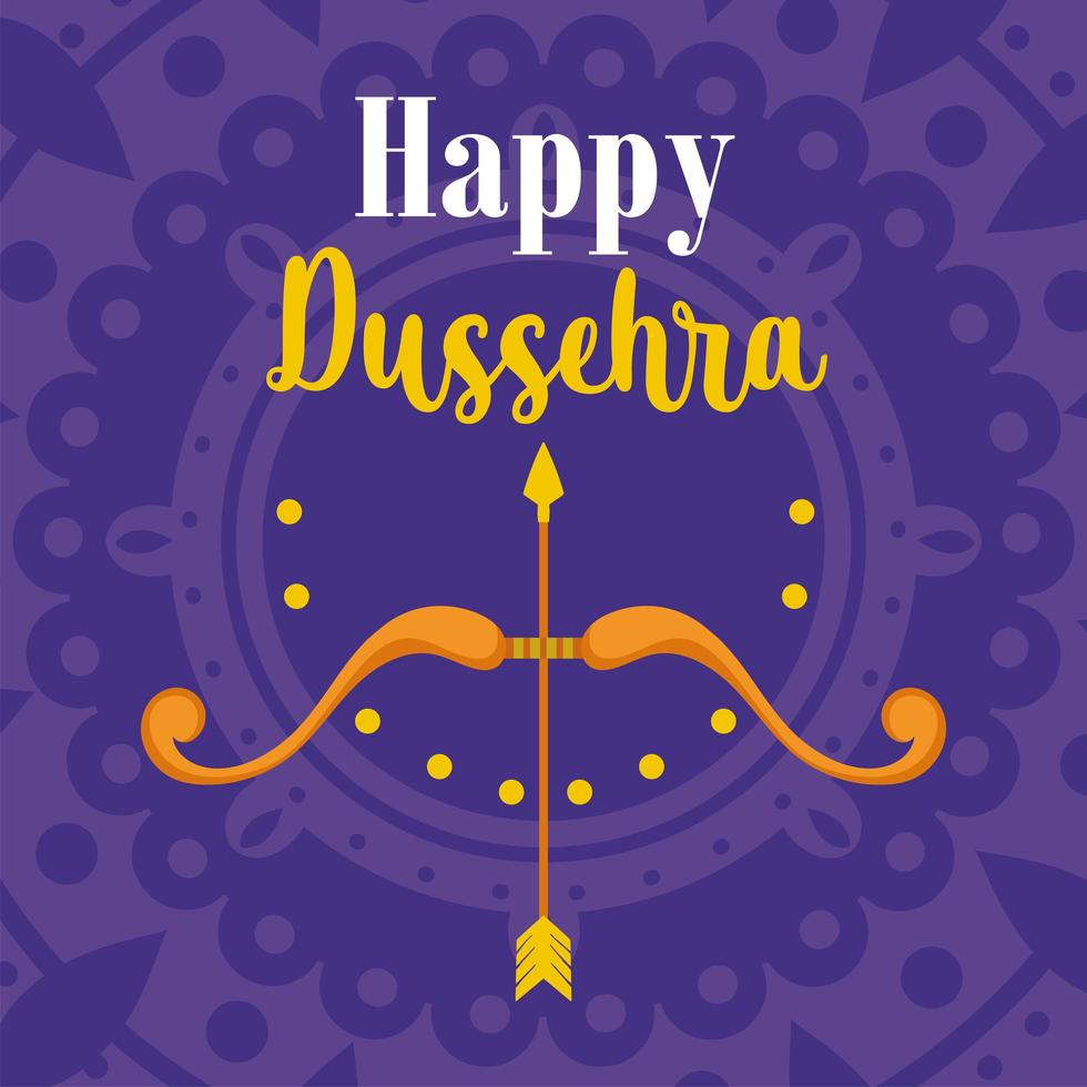 joyeux festival dussehra de l'inde carte avec des flèches, des arcs vecteur