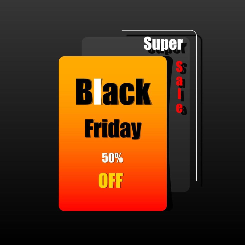 bannière de vente vendredi noir et orange vecteur